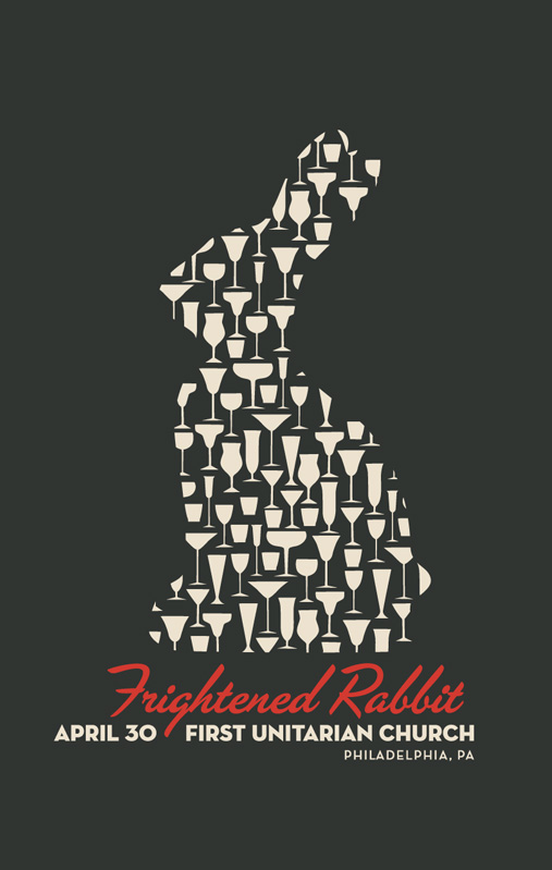 Frightened Rabbit silkscreen poster by contemporary artist Joe Castro