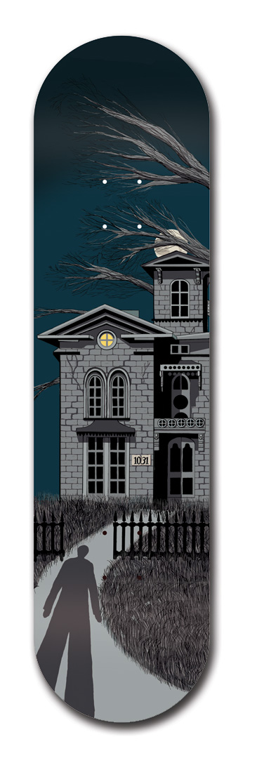 Halloween haunted house skateboard graphic