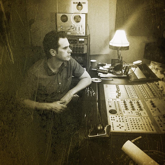 Mighty Joe Castro recording at the mixing board at Cambridge Sound Studio