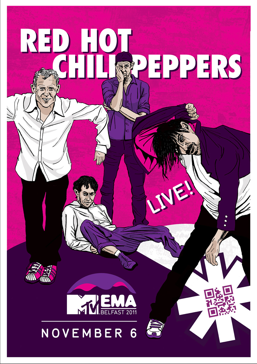 Red Hot Chili Peppers Poster For Mtv Ema By Joe Castro