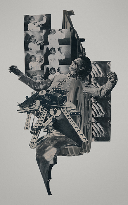 4AM cut paper collage by Mighty Joe Castro