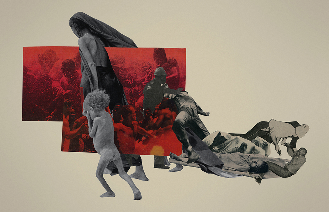 exodus cut paper collage by Mighty Joe Castro