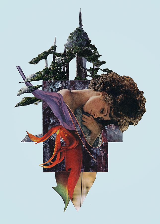 Mother of All Days - cut paper collage on paper by artist Mighty Joe Castro