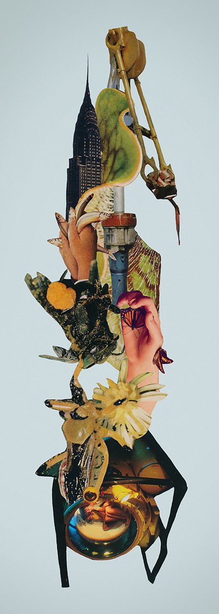 Upstream cut paper collage by artist Mighty Joe Castro