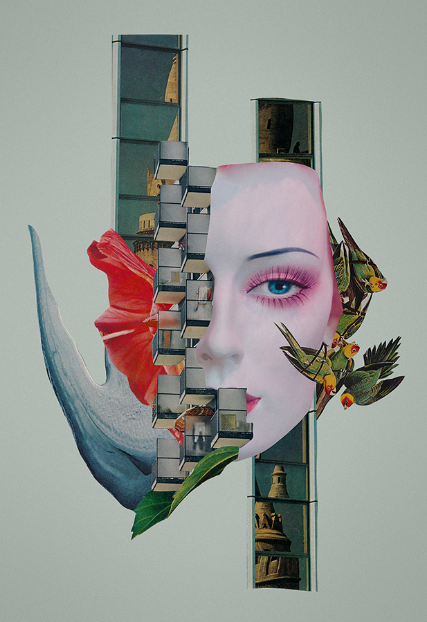 In Between Amnesias paper collage art by Mighty Joe Castro