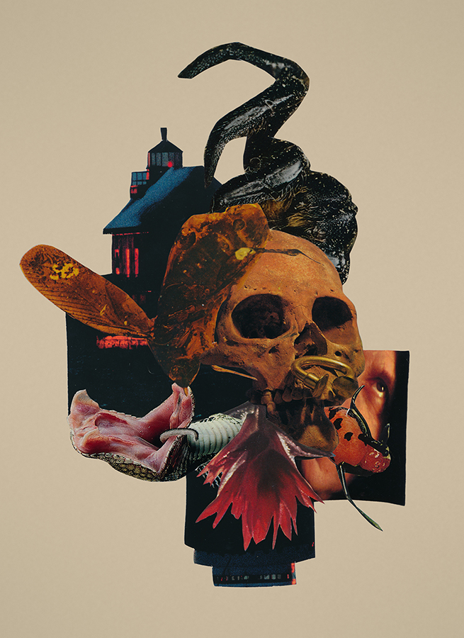 Night of Witches paper collage by artist Mighty Joe Castro