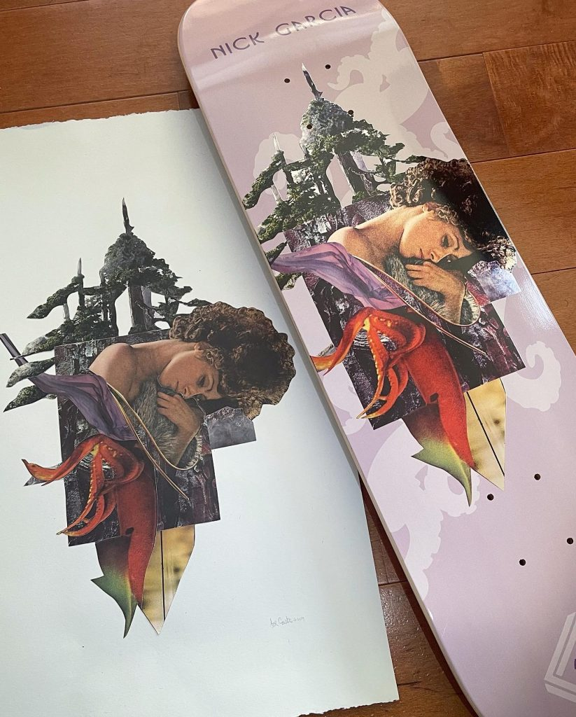Nick Garcia Cut and Paste collage art skateboard series by Mighty Joe Castro for Element Skateboards