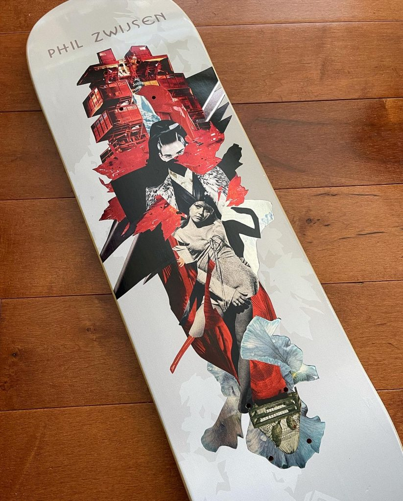 Phil Zwijsen Cut and Paste collage art skateboard series by Mighty Joe Castro for Element Skateboards